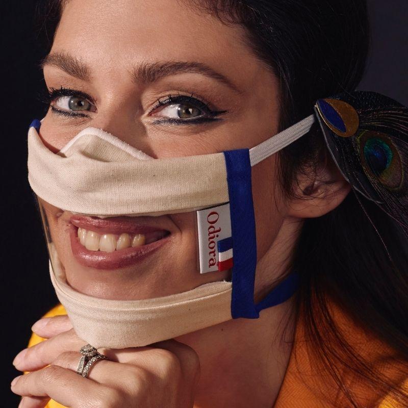 Sophie-vouzelaud-odiora-masque-transparent-sourire-inclusif-film-antibuee-tissu-lavable-dga-uns-afnor