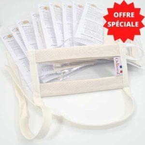 Offre spéciale sur le pack de 10 Masques Transparents Sourire couleur blanc nature
