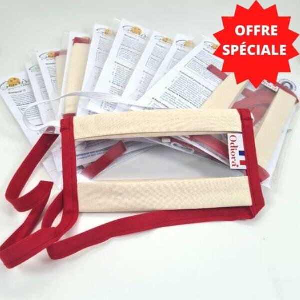 Photo de l'offre spéciale sur le pack de 10 Masques Transparents Sourire rouge par Odiora