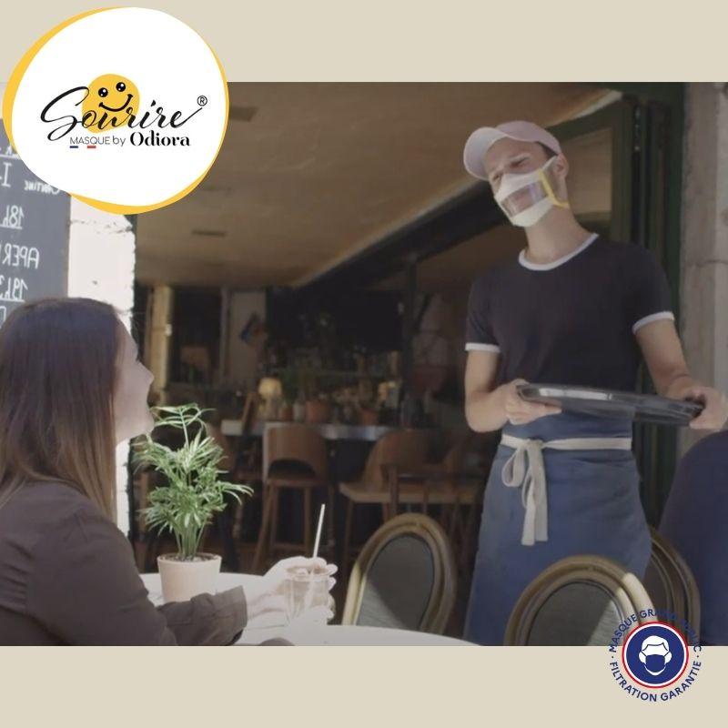 pour le déconfinement et l'ouverture des terrasses des restaurants, sortons couvert mais en affichant son plus beau sourire. Retrouvez un peu de convivialité pour accueillir vos clients.
