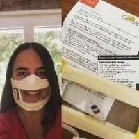 Montage photo d'une femme portant un Masque Sourire et de son colis de Masque Sourire