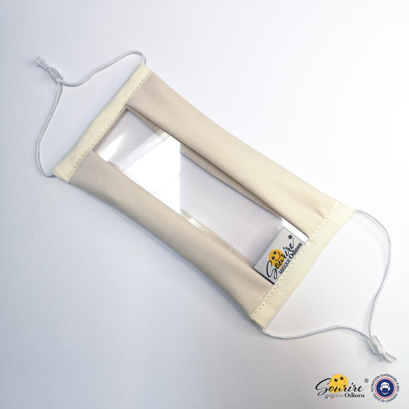 Masque Sourire blanc avec élastiques et une fenêtre transparente pour lire sur les lèvres