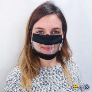 Masque Sourire noir et beige avec une fenêtre transparente pour lire sur les lèvres