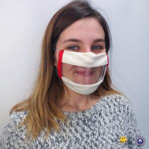 Masque Sourire rouge et blanc avec des élastiques et une fenêtre transparente pour voir les expressions du visage